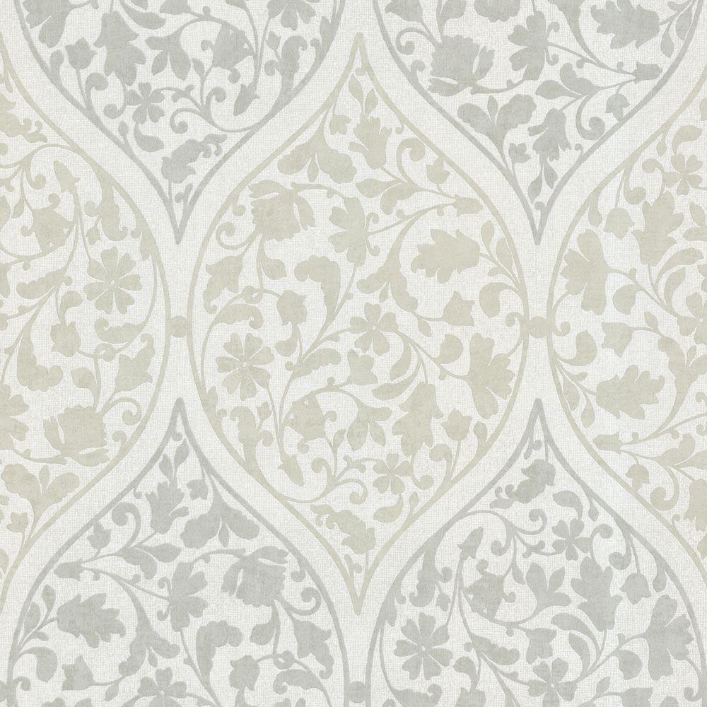 Beacon House Adelaide Ogee Floral Light Green Wallpaper