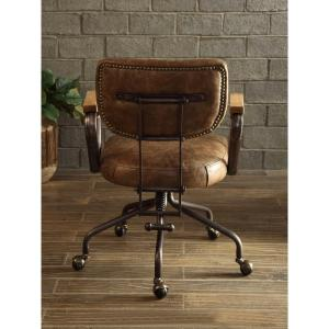 leather antique wood office chair leather antique. +3. ACME Furniture Hallie Vintage Whiskey Top Grain Leather Office Chair Antique Wood R