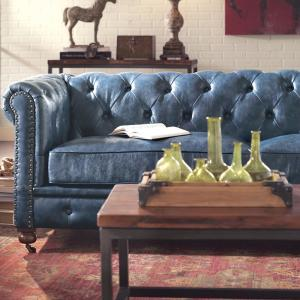 Pleasant Home Decorators Collection Gordon Blue Leather Sofa Theyellowbook Wood Chair Design Ideas Theyellowbookinfo