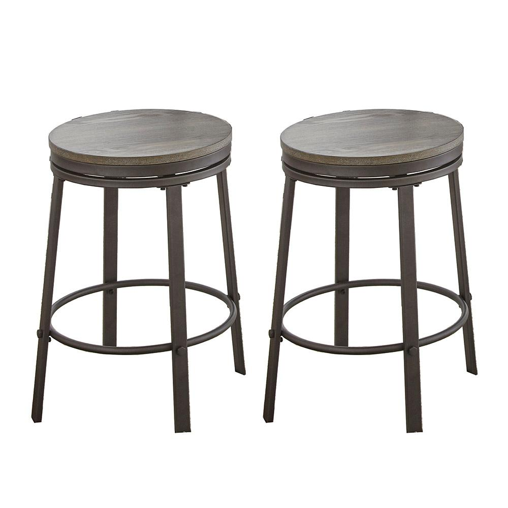 Steve Silver Portland Grey 24 in. Counter Stool (Set of 2), Gray