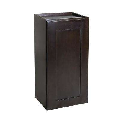 Brookings Ready to Assemble 15x36x12 in. Shaker Style Kitchen Wall Cabinet 1-Door in Espresso