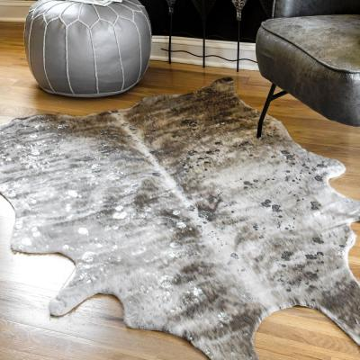 Tinley Spotted Faux Cowhide Gray 4 x 5 Shaped Rug