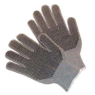 100% Natural Cotton PVC Dots Large Gloves - Dozen