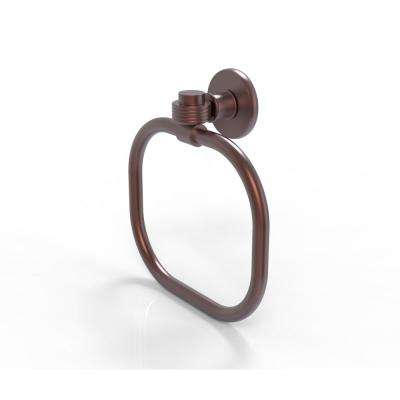Continental Collection Towel Ring with Groovy Accents in Antique Copper
