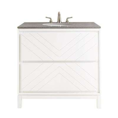 Clemente 36 in. W Single Vanity in White with Quartz Vanity Top in Grey with White Basin