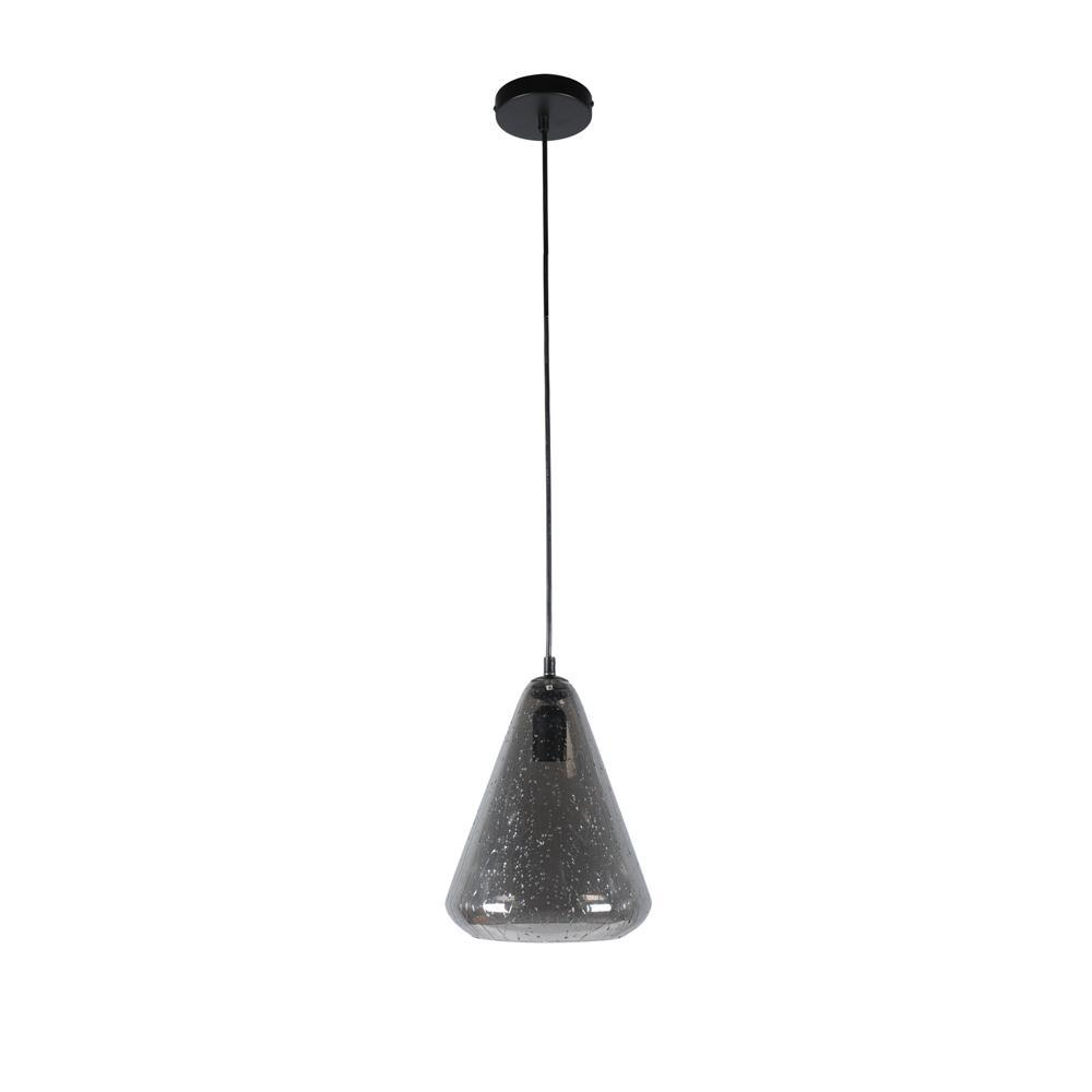 Home Decorators Collection 1-Light Iron Smoke Mini Pendant with Glass