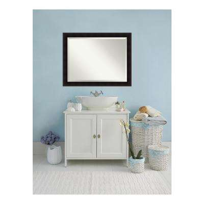 Portico Flat Espresso Wood 46 in. W x 36 in. H Single Contemporary Bathroom Vanity Mirror