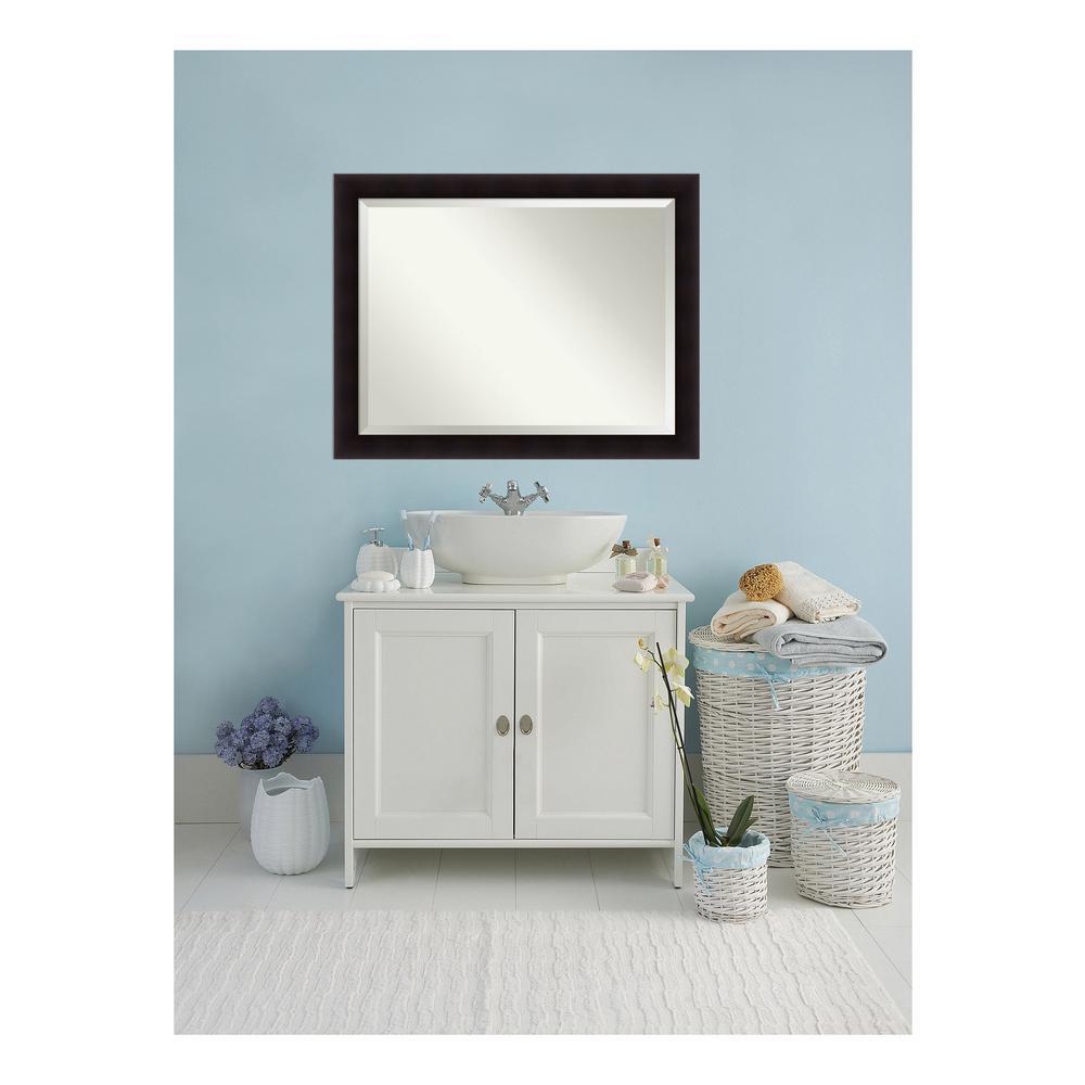 Portico Flat Espresso Wood 46 in. W x 36 in. H Single Contemporary Bathroom Vanity Mirror