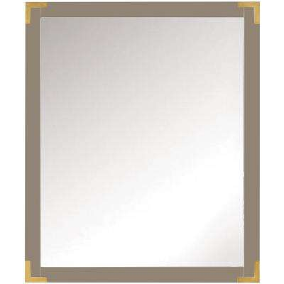 Chatham 36 in. H x 30 in. W Single Framed Mirror in Taupe Grey