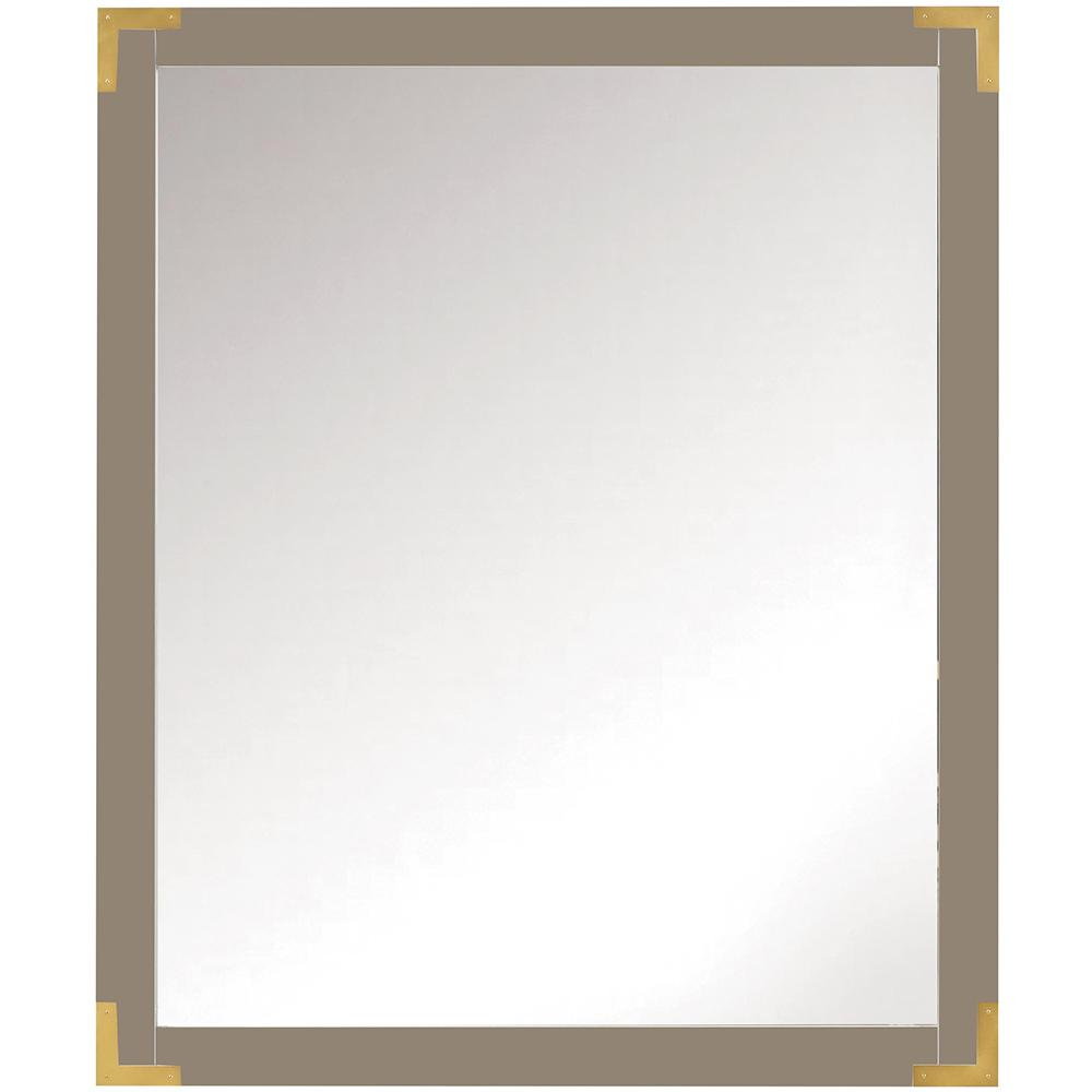 Home Decorators Collection Chatham 36 in. H x 30 in. W Single Framed Mirror in Taupe Grey