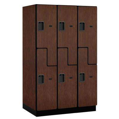 "27000 Series Double-Tier ""S"" Style 24 in. D 6-Compartments Extra Wide Designer Particle Board Locker in Mahogany"