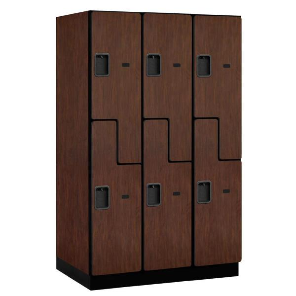 27000 Series Double-Tier ''S'' Style 24 in. D 6-Compartments Extra Wide Designer Particle Board Locker in Mahogany