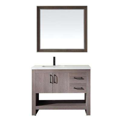 Bari 42 in. W x 22 in. D Bath Vanity in Dark Grey with Quartz Vanity Top in White with White Basin and Mirror