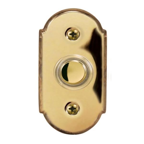 Wired Halo Lighted Door Bell Push Button, Polished Brass
