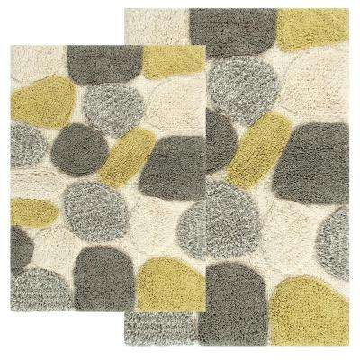 Pebbles 24 in. x 40 in. 2-Piece Bath Rug Set in New Willow
