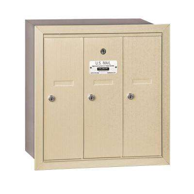 3500 Series Sandstone Recessed-Mounted Private Vertical Mailbox with 3 Doors