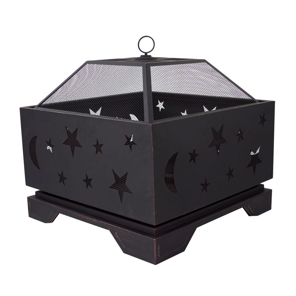 Pleasant Hearth Stargazer Deep Bowl 26 in. x 26 in. Square Steel Wood Fire Pit in Rubbed Bronze