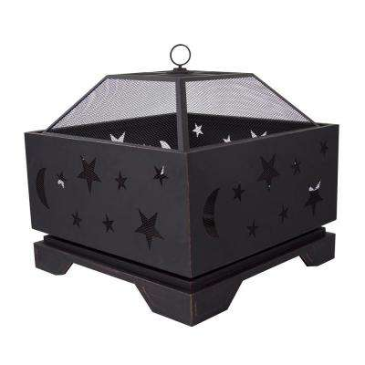 Stargazer Deep Bowl 26 in. x 26 in. Square Steel Wood Fire Pit in Rubbed Bronze