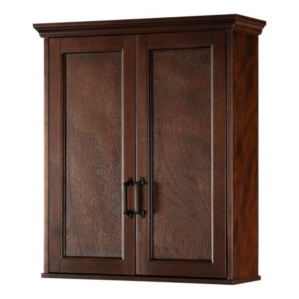 Home Decorators Collection Ashburn 23 1 2 In W Bathroom Storage Wall Cabinet In Mahogany Asgw2327 The Home Depot