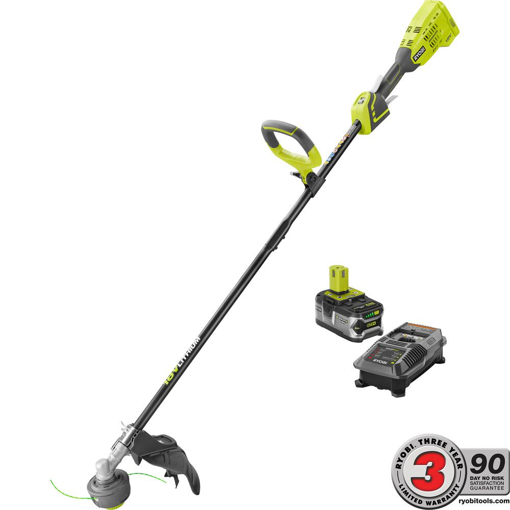 Ryobi One 18 Volt Lithium Ion Brushless Cordless String Trimmer 4 0 Ah Battery