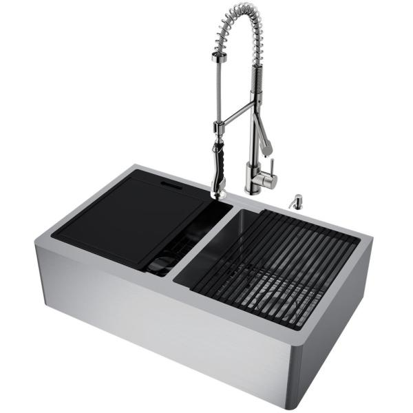 All-in-One Flat Farmhouse Apron Oxford Stainless Steel 33 in. Double-Bowl Kitchen Sink Workstation with Zurich Faucet