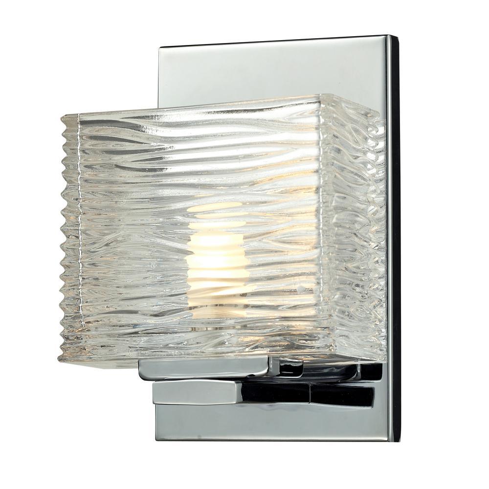 Jael 1-Light Chrome Bath Light with Clear Glass Shade