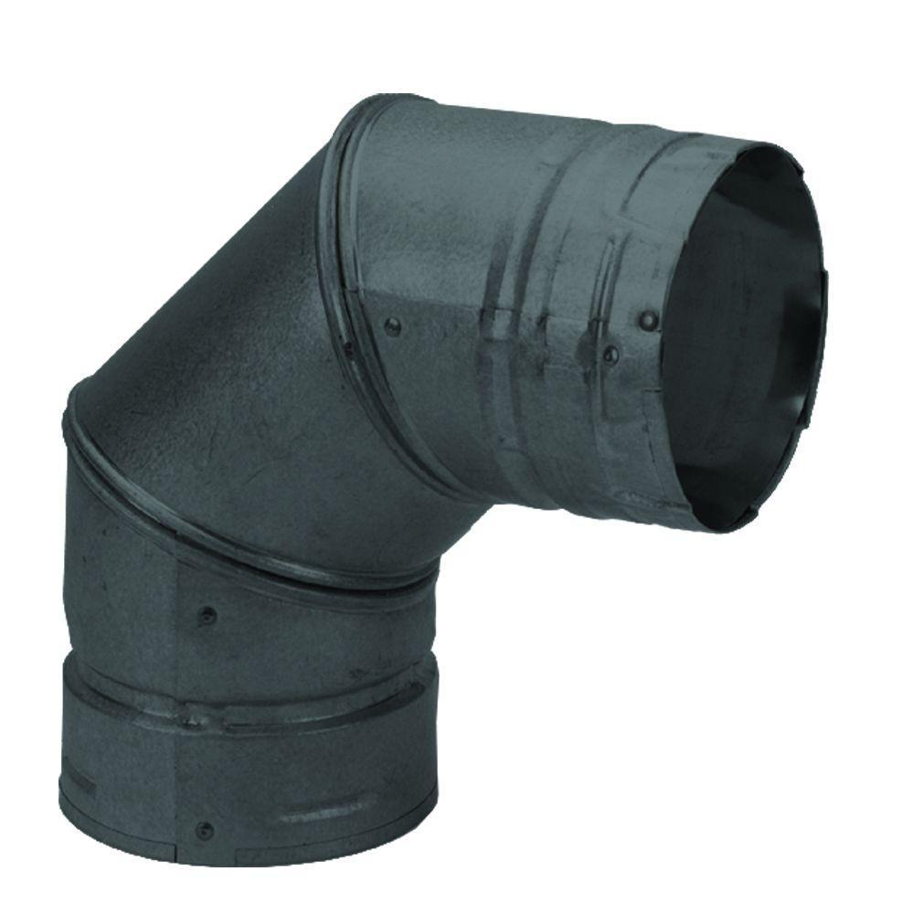 DuraVent PelletVent Multi-Fuel 3 in. 90-Degree Elbow in Black