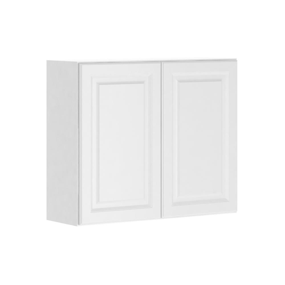 Hampton Bay Madison Assembled 36x30x12 In Wall Cabinet In Warm White W3630 Mww The Home Depot