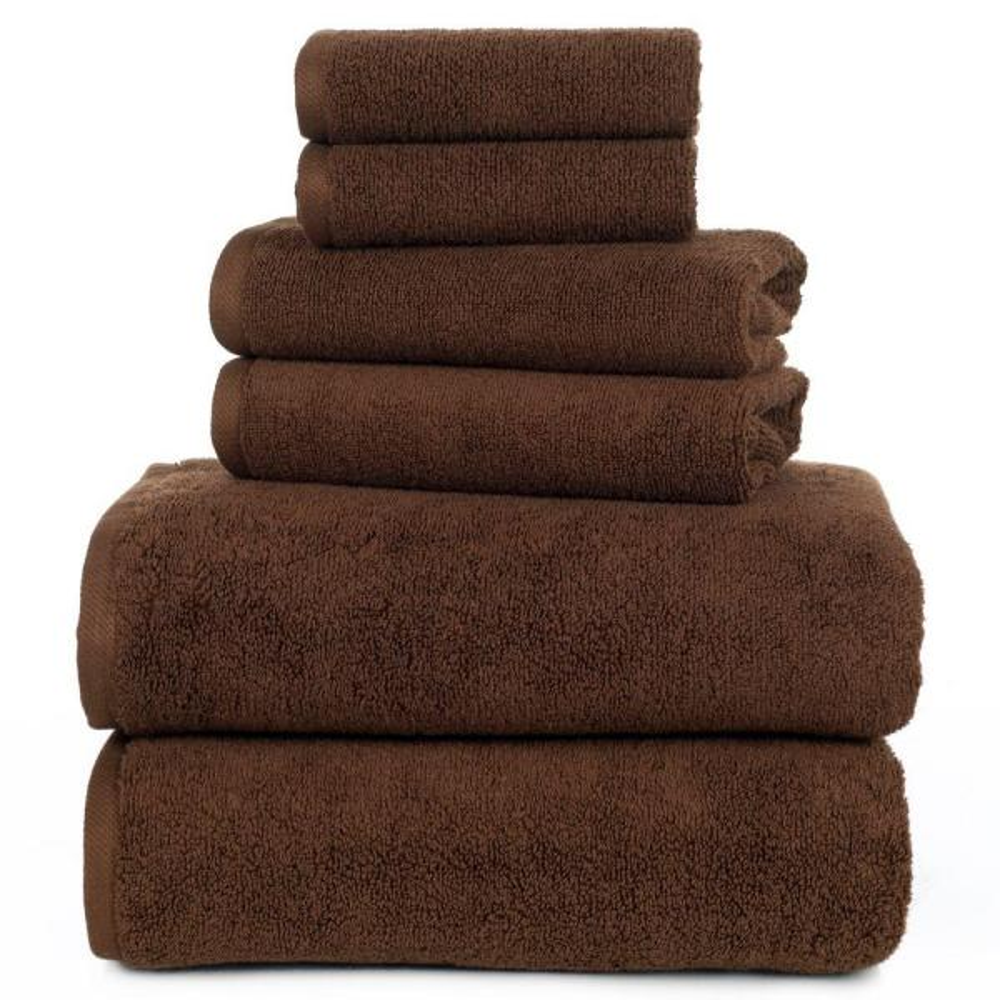 Lavish Home 100 Egyptian Cotton Zero Twist Towel Set In Chocolate 6 Piece 67 0017 C The Home Depot