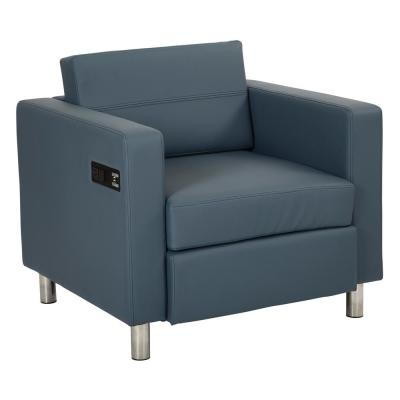 Atlantic Dillon Blue Fabric Chair with Single Charging Station