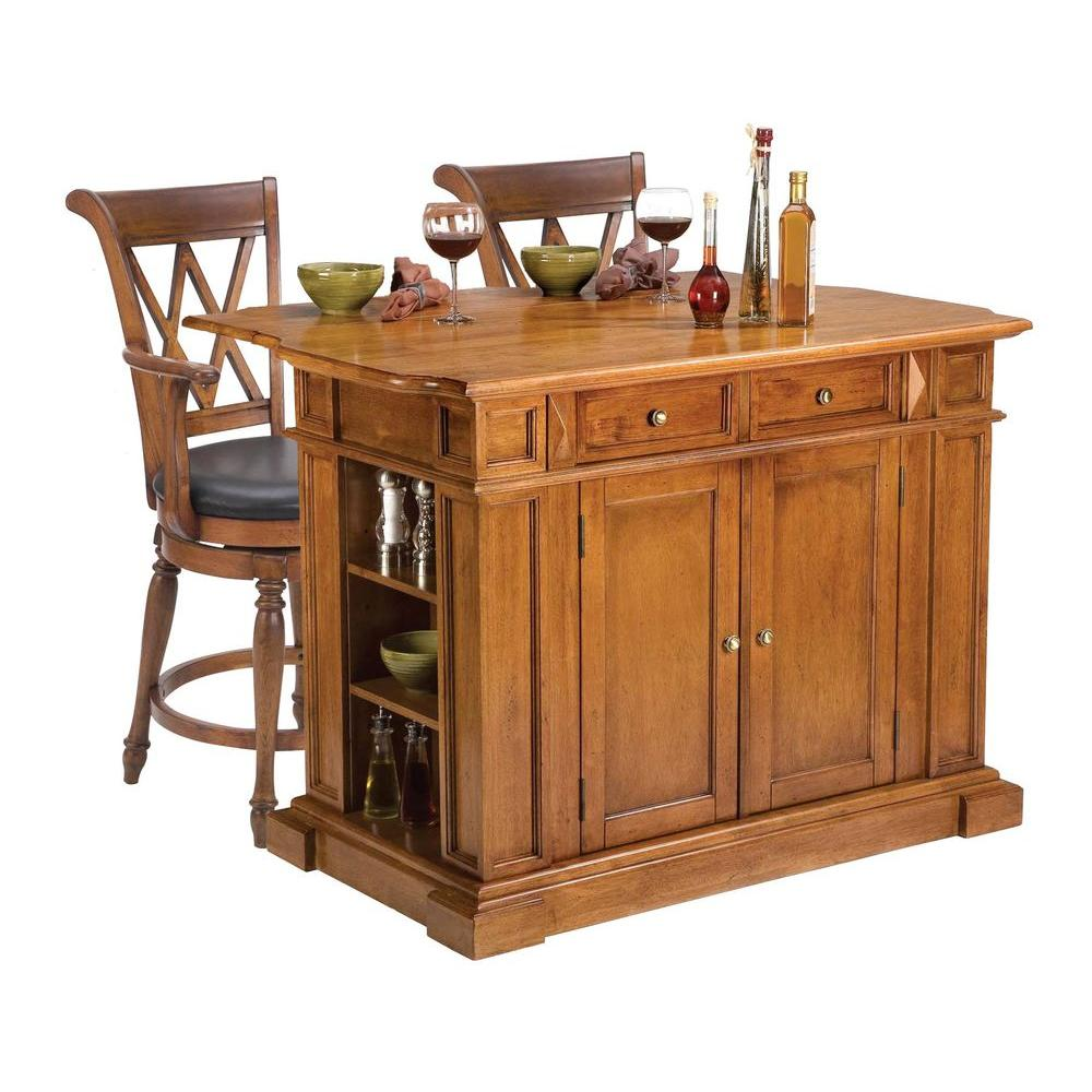 Home Styles Traditions Distressed Oak Drop Leaf Kitchen Island with Seating-DISCONTINUED