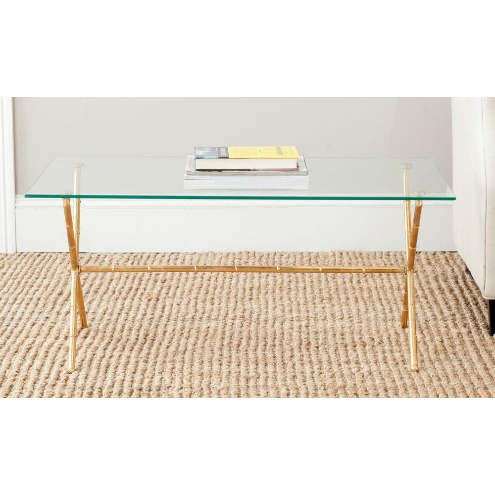 Safavieh Brogen Gold And Clear Coffee Table