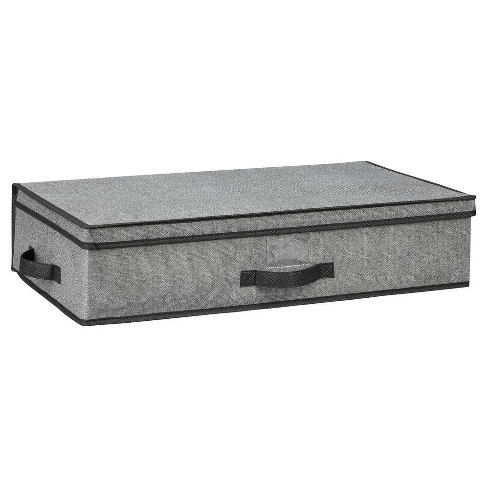 Simplify 16 in. x 6 in. x 28 in. Under-the-Bed Grey Polypropylene Storage Box