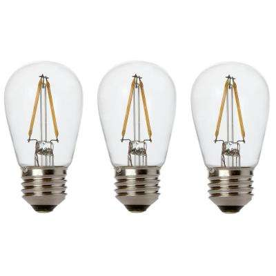 11W Equivalent 2400K Warm White S14 LED Replacement String Light Bulbs Standard Base (3-Pack)