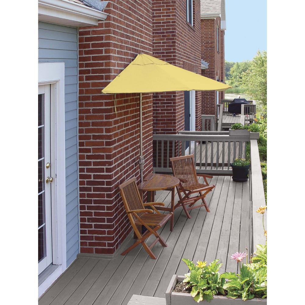 Blue Star Group Caleo Terrace Mates Premium 5-Piece Patio Bistro Set with 9 ft. Red Olefin Half-Umbrella