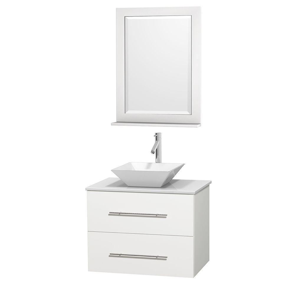 Wyndham Collection Centra 30 in. Vanity in White with Solid-Surface Vanity Top in White, Porcelain Sink and 24 in. Mirror