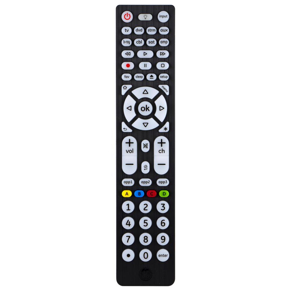 8-Device Universal Remote Control, Backlit, Big Buttons, Black