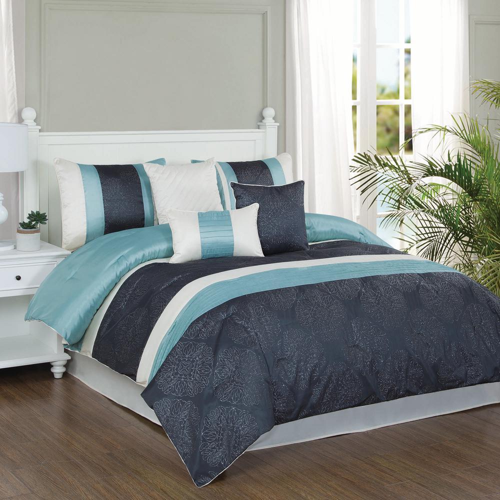 Studio 17 Glorious Dusty Aqua/Charcoal/Ivory 7-Piece Full/Queen Comforter Set
