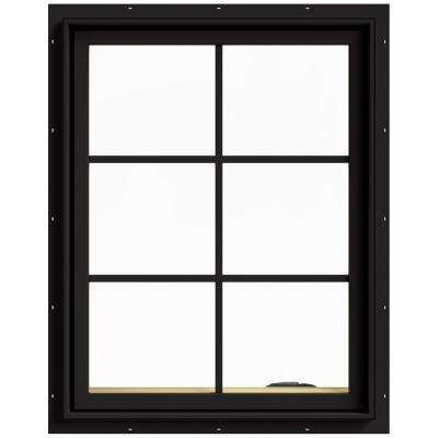 28 in. x 36 in. W-2500 Series Black Painted Clad Wood Right-Handed Casement Window with Colonial Grids/Grilles