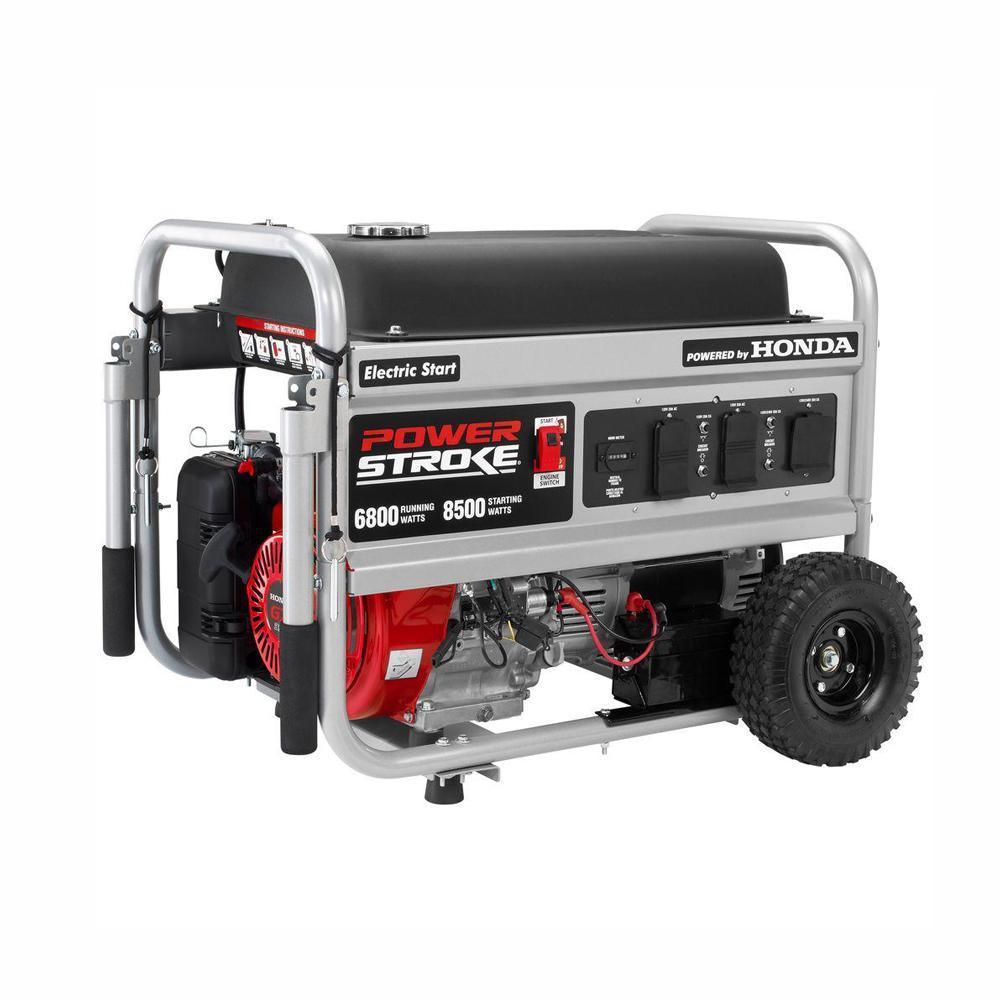 PowerStroke 6,800 Running Watt Gasoline Powered Electric Start Portable Generator with Honda GX390 Engine