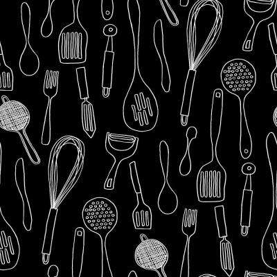 Kitchen Contours Silhouettes Wallpaper