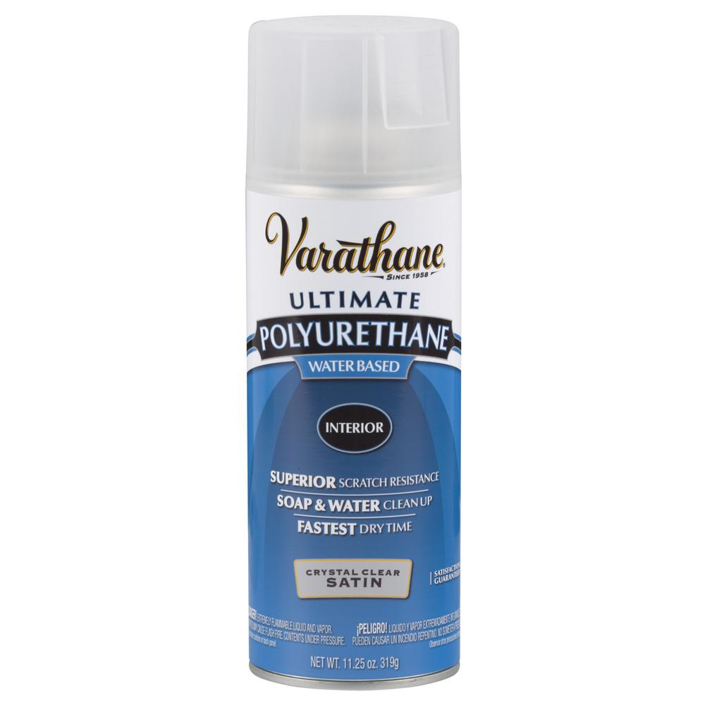 Varathane 11.25 oz. Clear Satin Water-Based Interior Polyurethane Spray Paint (6-Pack)