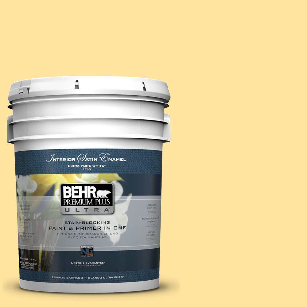 BEHR Premium Plus Ultra 5 gal. #340B-4 Lemon Drops Satin Enamel Interior Paint and Primer in One
