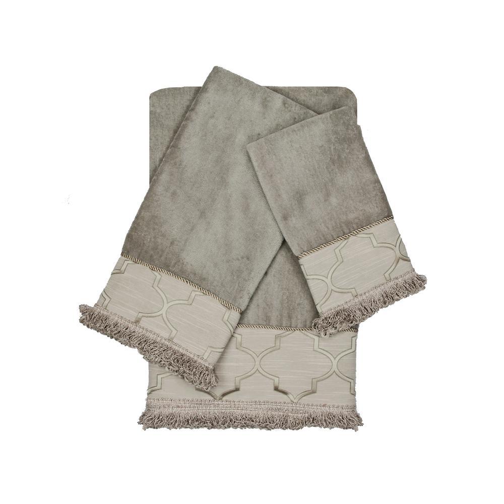 Ascot Grey Loop Decorative Embellished Towel Set (3-Piece)