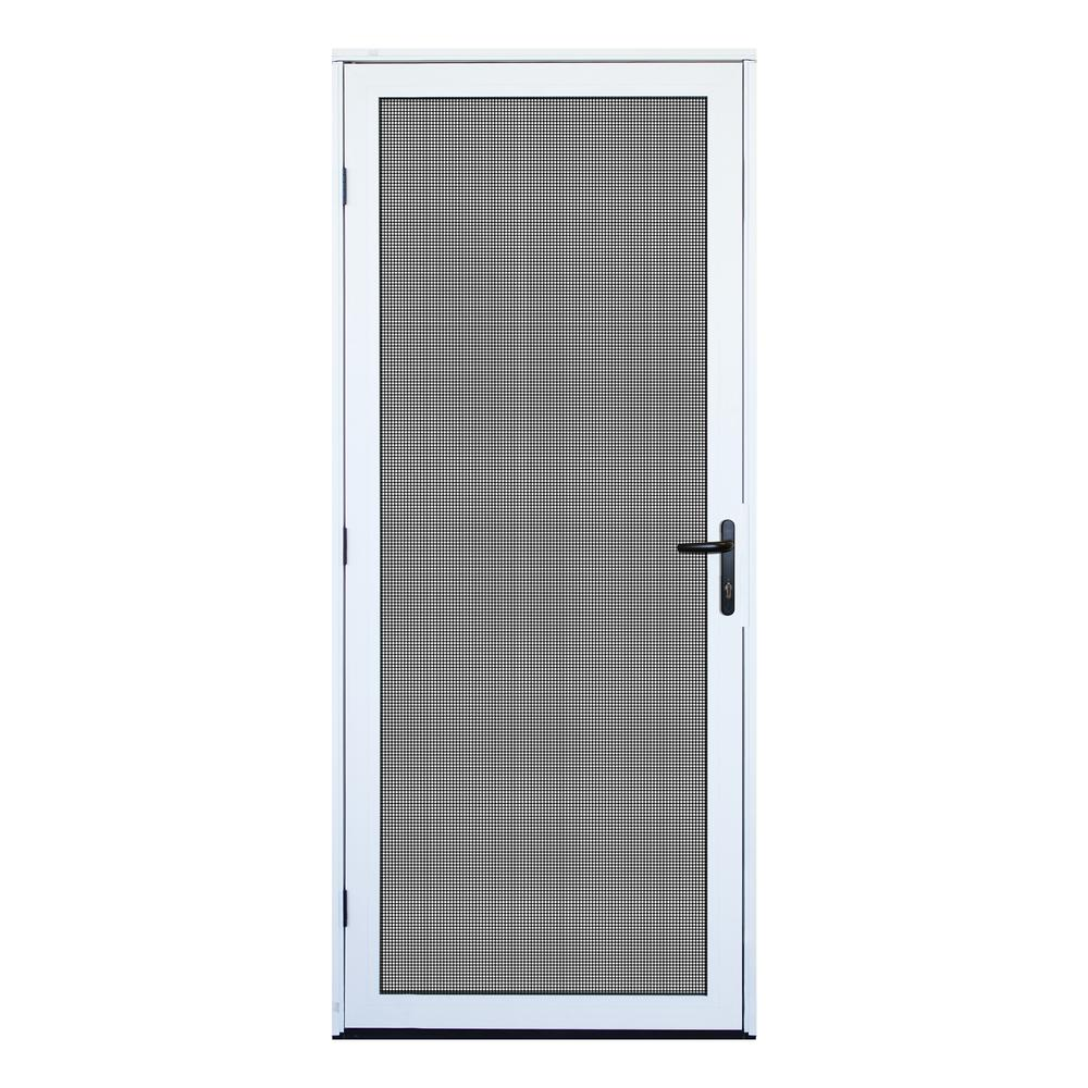 unique home designs 32 in x 80 in white surface mount outswing security door with meshtec. Black Bedroom Furniture Sets. Home Design Ideas