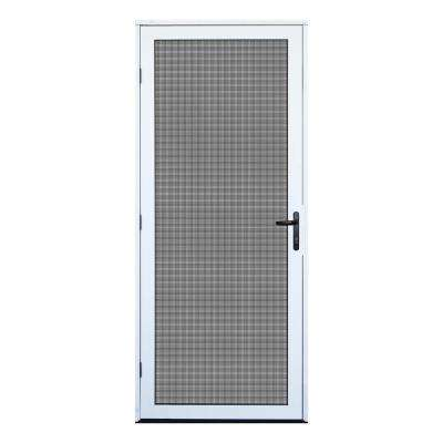 32 in. x 80 in. White Recessed Mount Outswing Security Door with Meshtec Screen