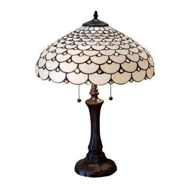 25 in. Tiffany Style and White Jeweled Double Lit 2-Light Table Lamp