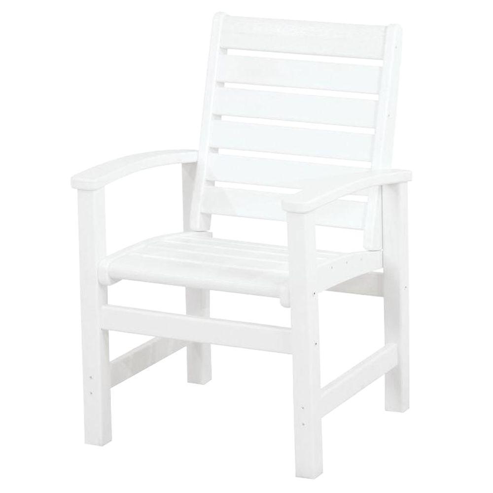Signature White Plastic Outdoor Patio Dining Chair