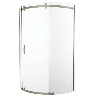 38 in. x 72 in. Frameless Corner Sliding Shower Door in Stainless