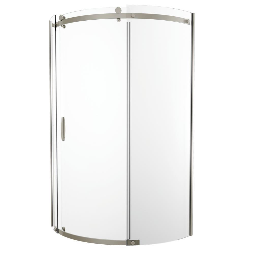 Delta 38 In X 72 Frameless Corner Sliding Shower Door Stainless Steel B911917 3838 Ss The Home Depot